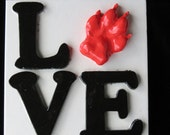 Valentines' Day Large LOVE- OUTprint plaque-dog pawprint or cat pawprint!