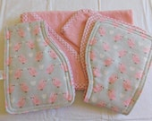 Towel/Washcloth and 2 Burp Cloth Set in Pink - Baby Girl Themed