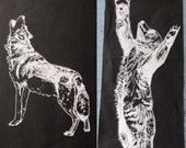 2 Silk Screen Patches - Howling Wolf  and Reaching Bear Cub Black and White on cotton canvas Original Illustration