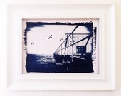 Original Art - Handmade Cyanotype 5x7 Nautical Home Decor - Jetty Artwork