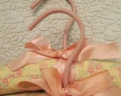 Two Vintage Padded Hangers - Peach and Yellow Calico Cotton