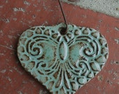 Robins Egg Blue Lace Heart Ornament