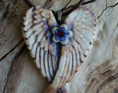 Midnight Blue and Red Flower Winged Porcelain Heart Pendant 2