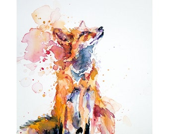 Fox Art Print, Fox Wall Art, Gazing FOX Watercolour Print. Fox Portrait, A4