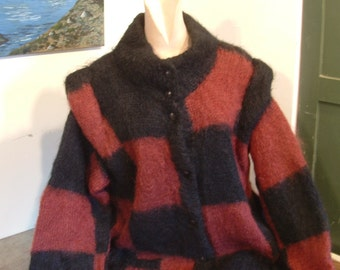 Mohair sweater jacket coat black and tan checks vintage for large extra large women