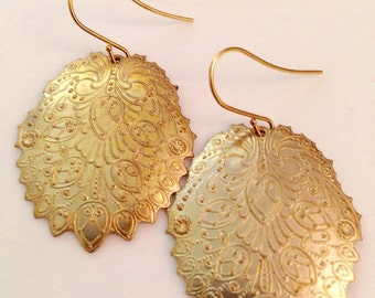 Phyrea Boho Chic Brass Filigree Pendant Earrings