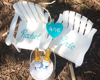 The ORIGINAL Set of 2 Cake Topper Wedding Decor Mini Adirondack Chair with Bucket of beer  Beach Lake Rustic  Personalized  Any Color
