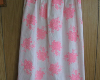 White and Pink Floral Fabric Skirt for Ladies