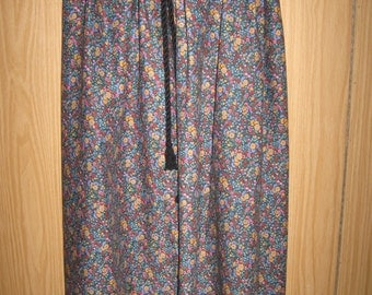 Black Twisted Tie Multicolor Floral Fabric Skirt for Ladies