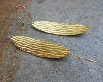 Textured Bronze Oval Disk Earrings