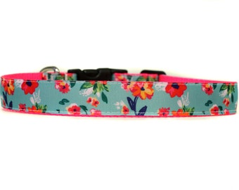 1 Inch Wide Dog Collar with Adjustable Buckle or Martingale in Blooming