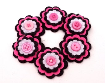 Felt Flowers, Black, Pink and White with Pink Buttons, Scrapbook Embellishment, Card Decoration, Hair Bow Embellishments