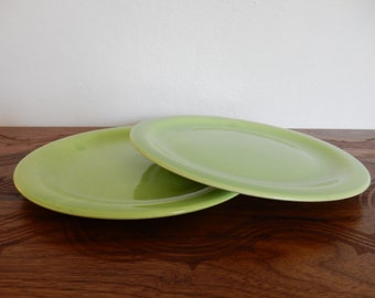 Pair of Vintage Avocado Green Plates, Calif Ware by Tomeoni Bros, 10""