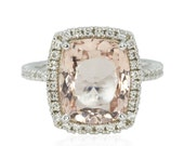 Morganite Engagement Ring with a Cushion Cut high quality Natural Morganite, Diamond Basket and Eternity Shank in 14k White Gold – LS4323