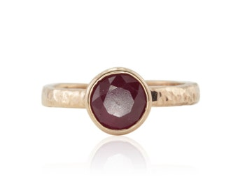 Bezel Engagement Ring, Bezel Set Round Ruby and Rose Gold Ring with Hammered Plain Shank - LS4385