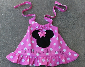 Custom Boutique Light Pink Minnie Mouse Halter Swing Top