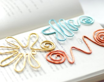 Funky Bookmarks, Set of 3 Wire Bookmarks, Fun Bookmarks, Colorful Bookmarks, Squiggle, Book Lover Gift, Teacher Gift, Librarian Gift