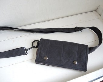 black waxed canvas Utility wallet hip bag hipster Smartphone  modern Fanny Pack Waist practical pouch mini messenger organizer satchel