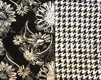 Batik Fabric FIVE One yard Pieces Bundle Moda Black W/ White