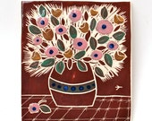 mahogany bouquet hand carved ceramic art tile