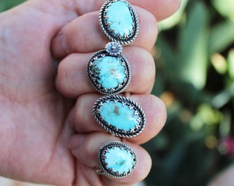 Fancy Turquoise Cabochon Sterling Silver Rings, rustic, artisan, metalwork, handmade, Boho, Bohemian, Gypsy, Cowgirl