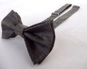 Standard Bow Tie Bowtie - Pretied - Adult - Boys - Baby - Toddler - Formal or Casual Linen Black Sandstone Geek Chic Bows - Wedding Bow Tie