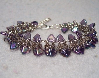 Purple Dragon Spine Bracelet, chainmaile and glass