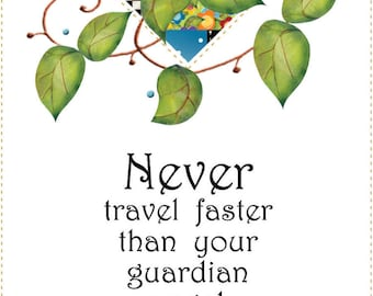 """6"""" x 12"""" Fabric Art Panel - Never Travel Faster..."""