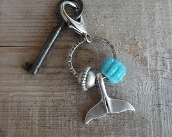 Whale tail  Key chain / Bag Adornment - Nautical Keyring Beach Accessory Glass and Metal