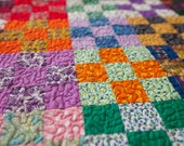 Vintage Nine Patch Quilt Has a New Life - one of a kind OOAK Vintage quilt