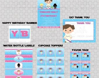 Star Wars party printables for girls - birthday invitation - digital files