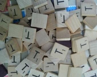 Letter T Scrabble letter tiles 50