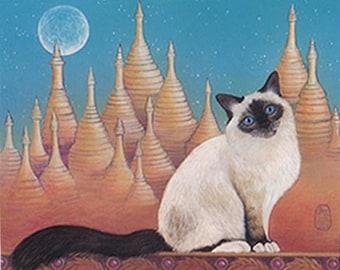 Sacred Cat of Burma, cat art print of my original painting, longhaired Siamese type cat
