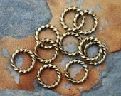 4  Antique Gold 11mm Large Rope Jumprings  - Nunn Designs Low Shipping