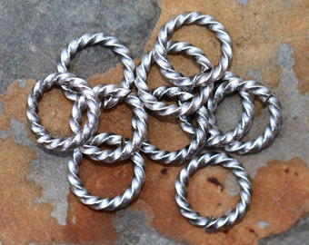 4  Antique Silver 11mm Large Rope Jumprings Low Shipping