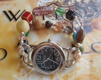 Interchangeable Bracelet Watch Band with Watch Face, Beaded Watch, Double Interchangeable Watch Band With Face Included