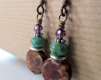 Turquoise and Brown Czech Glass with Amethyst Crystal Niobium Earrings
