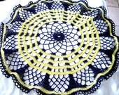 Black and Yellow Bumble Bee Colored Hand Crocheted Thread Round Doily 16""