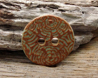RUSTIC HANDMADE BUTTON - 1 Large Handmade Ceramic Two Hole Button - #1