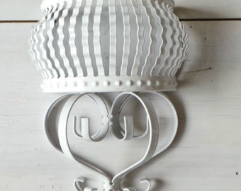 Vintage metal wall vase flower wall pocket shabby cottage chic white