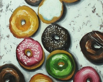 Donuts still life painting 35 24x36 inch original oil painting by Roz