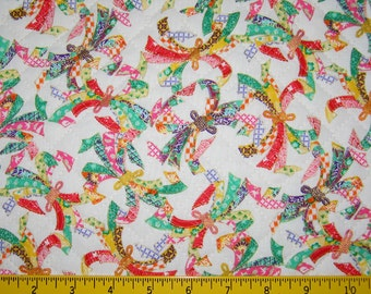 Traditional Noshi Design Japanese Asian Pre Quilted Fabric Half Meter Cut Rainbow