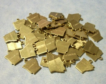 6 Tiny Brass Arkansas Charms 13mm Engraved Brass State Charms