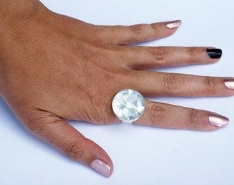 Mosaic Ring, Adjustable Ring, Glass Ring, Mirror Ring,  Statement Ring