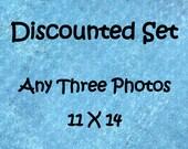Discounted photo set, Set of 3 prints, 11x14 photo set, 11x14 print set, 3 photo set, custom photo set, sale photo set, discounted art