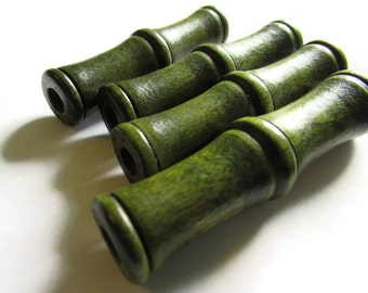 Large Green Wood Tube Beads Vintage Wooden Beads 60mm x 16mm wooden beads