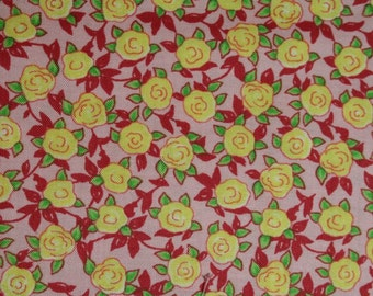 Aunt Lindy's Paper Dolls Retro Yellow Roses on Pink by Blue Hill retro yellow roses cotton fabric by the fat quarter or half yard