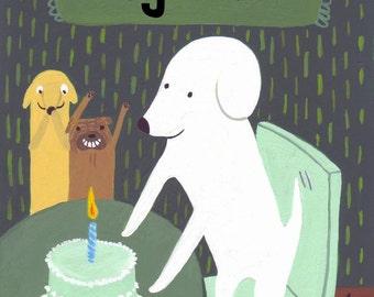Father's Day Card - Birthday Dog Card - Yay Dad - Funny White Dog, Pug, Golden Retriever, Yellow Lab Art