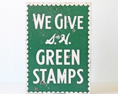 Vintage Sign, S and H Green Stamps, Enamel S&H Advertising Sign