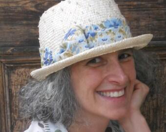 Ladies Straw Hat - Porkpie - Summer Sun Hat - Blue Floral